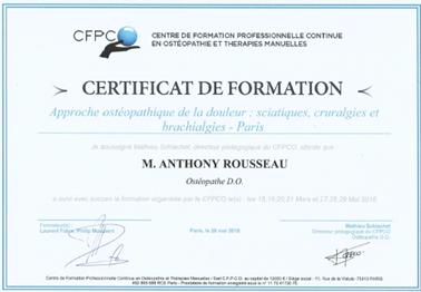 Certificat de formation CFPCO concernant la prise en charge en ostéopathie des névralgies cervico brachiales (NCB)