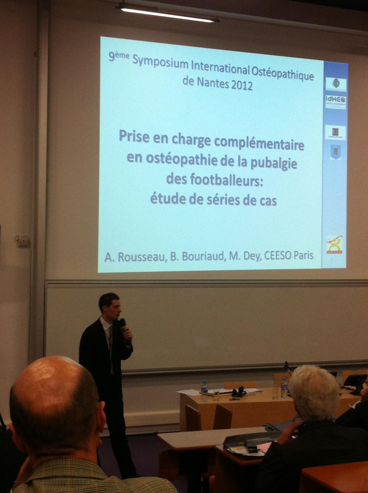 Présentation de mon étude en ostéopathie sur la pubalgie du footballeur au 9° Symposium International Ostéopathique de Nantes